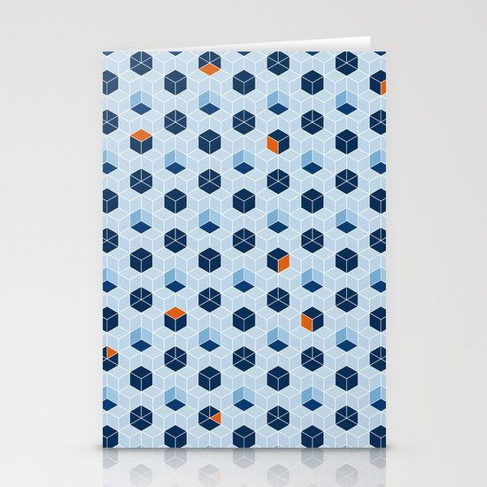 Blue Cubes Stationery Cards