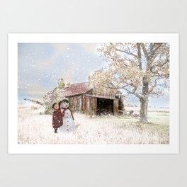 Farmstyle Snowman Art Print