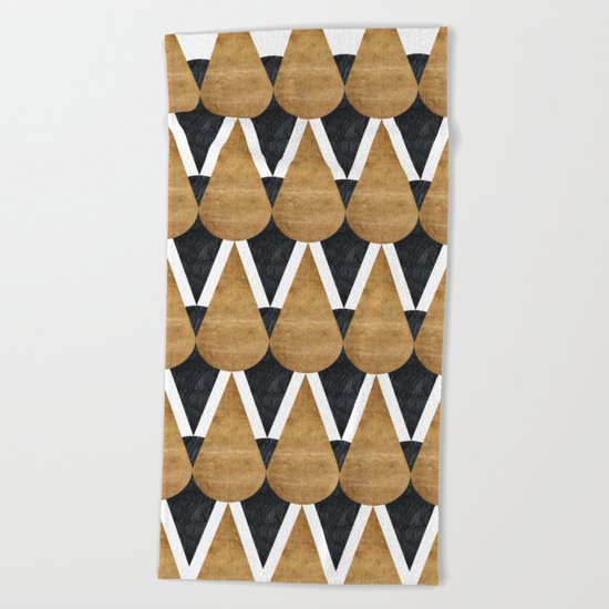 RainDrops Black & Gold Beach Towel
