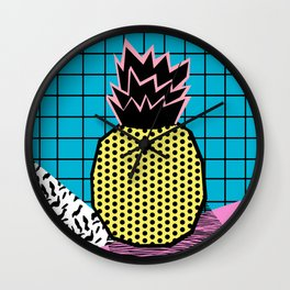 Grindage - pineapple fruit tropical pattern memphis style art print bright neon 1980 1980's 80's 80s Wall Clock