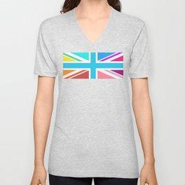Union Jack/Flag Design Multicoloured Unisex V-Neck