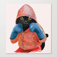 boxing Canvas Prints featuring Boxing Cat 2  by Tummeow
