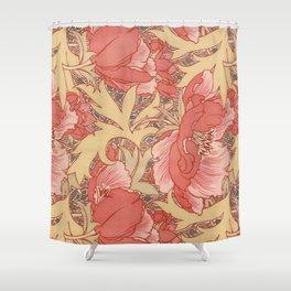 William Morris Poppies Floral Art Nouveau Pattern Shower Curtain
