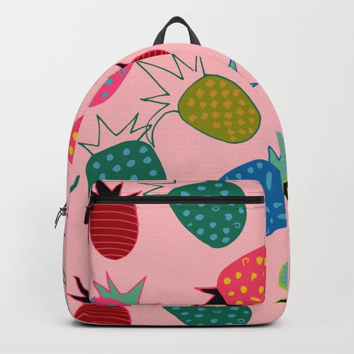 pineapple fun tropical pink Backpack