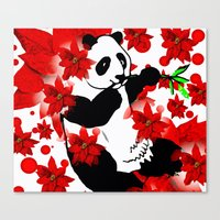 red panda Canvas Prints featuring Panda by Saundra Myles