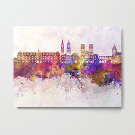 Caen skyline in watercolor background Metal Print