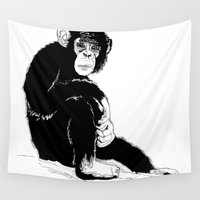 monkey Wall Tapestries featuring Monkey by takmaj