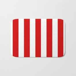 Rosso corsa red - solid color - white vertical lines pattern Bath Mat