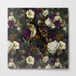 Dutch Vintage Midnight Flower Garden  Metal Print