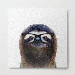 Hipster Sloth Metal Print