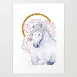 Draft horse and peonies Art Print