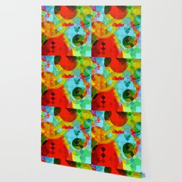 geometric square pixel and circle pattern abstract in red blue yellow Wallpaper