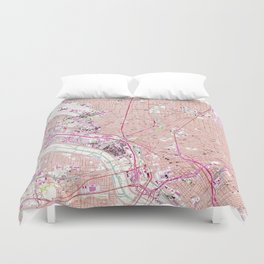 Vintage Map of Dallas Texas (1958) Duvet Cover