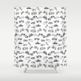 Fire Trucks - Old and New Shower Curtain