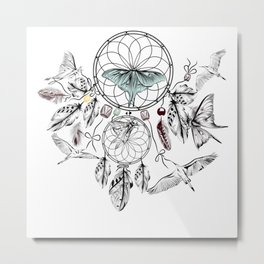 Bohemian print design with hand drawn dreamcatchers Metal Print