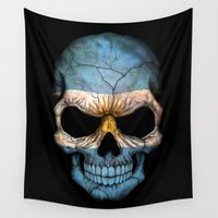 argentina Wall Tapestries featuring Dark Skull with Flag of Argentina by Jeff Bartels