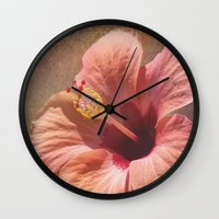 hibiscus Wall Clocks featuring Hibiscus by Lynn Bolt