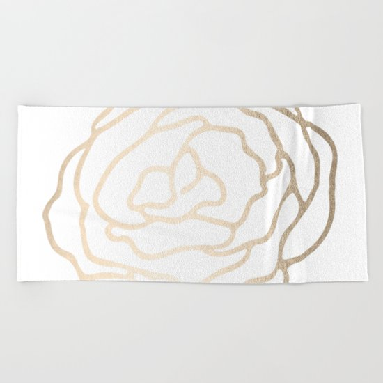 Flower in White Gold Sands Beach Towel