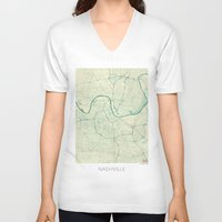 nashville V-neck T-shirts featuring Nashville Map Blue Vintage by City Art Posters