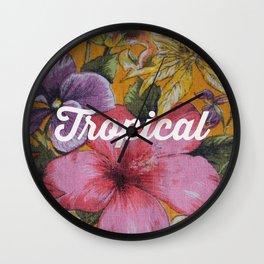 Vintage Tropical (pink) Wall Clock
