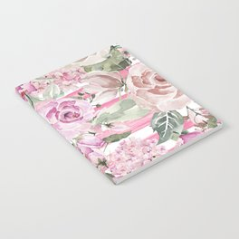 Country chic watercolor pastel green pink geometric floral Notebook