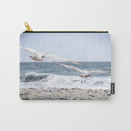 Seagulls in Flight Modern and Vintage Beach Aesthetic Photography of Seagull Birds Flying in Sky Carry-All Pouch