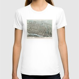 Vintage Pictorial Map of Lawrence Massachusetts (1876) T-shirt
