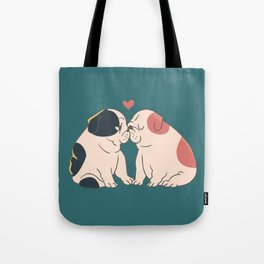 English Bulldog Kisses Tote Bag