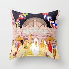 Seville Hispano American Expo 1929 art deco ad Throw Pillow