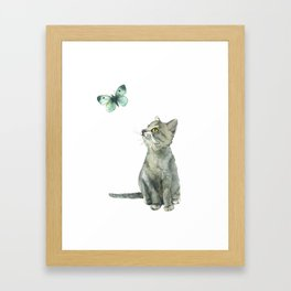 Kitten & Butterfly Framed Art Print