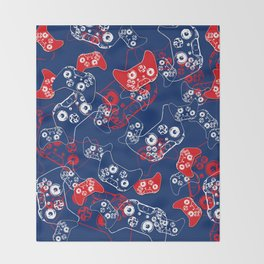 Video Game Red White & Blue 2 Throw Blanket