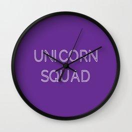 Unicorn Squad - Purple and White Wall Clock