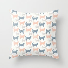 Blue Pink and Grey Pastel Kitty Cat Silhouette Throw Pillow