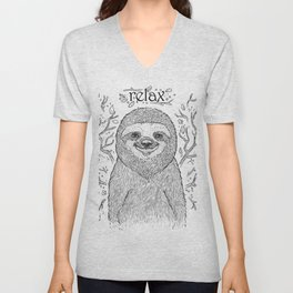 Happy and Lazy Sloth Drawing Design with Relax Text Unisex V-Neck