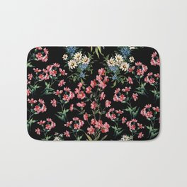 FLD Bouquet On Black Bath Mat
