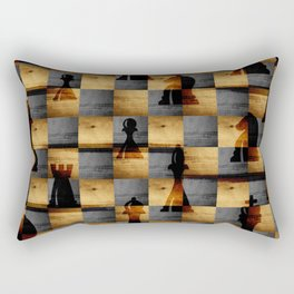 Wooden Chessboard and Chess Pieces  pattern Rectangular Pillow