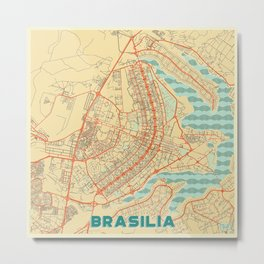 Brasilia Map Retro Metal Print