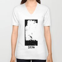 drive V-neck T-shirts featuring Drive by Slug Draws