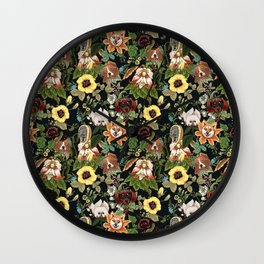 Botanical Puppies Wall Clock