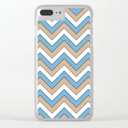 Blue Brown and White Chevrons Clear iPhone Case