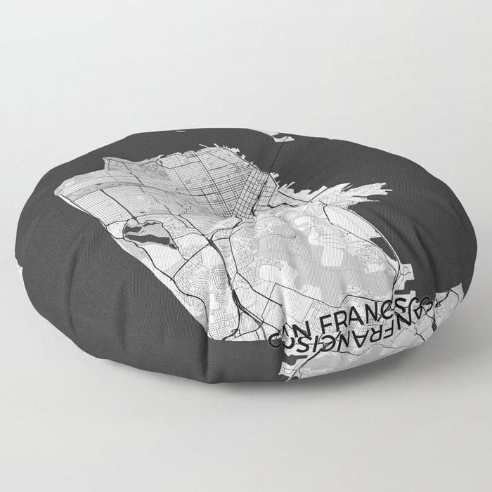 San Francisco Map Gray Floor Pillow