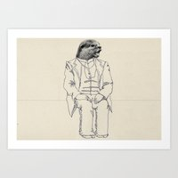 otter Art Prints featuring Otter by Federica Fragapane
