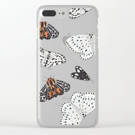 Muted Moth Pattern Clear iPhone Case