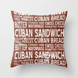 Cuban Sandwich Word Food Art Poster (Brown) Throw Pillow