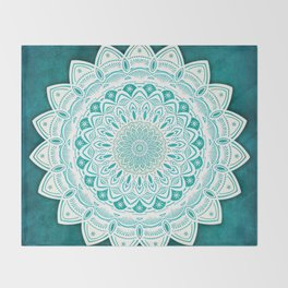 White Mandala on Blue Green Distressed Background with Detail and Textured Throw Blanket