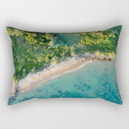 coast beach aerial view sea trees vegetation Rectangular Pillow