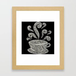 But first, Coffee - tea coffee lover zentangle Framed Art Print