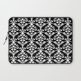 Cresta Damask Pattern White on Black Laptop Sleeve