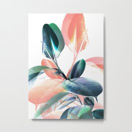 Foliage in Love - Teal & Blush Metal Print