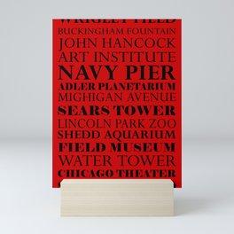 Chicago Landmarks, red and black Mini Art Print